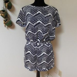 J. Crew Factory Blue and White Romper Size 8